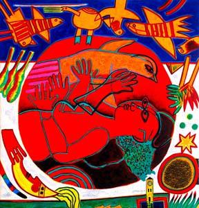 Femme Rouge et L'oiseau Orange