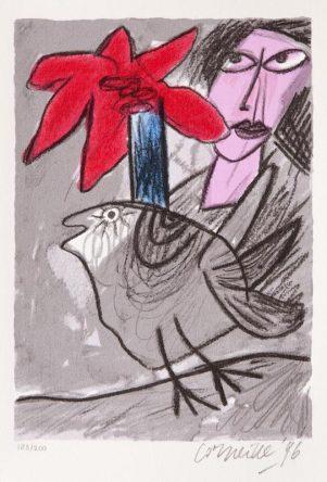 Femme avec un Fleur rouge
