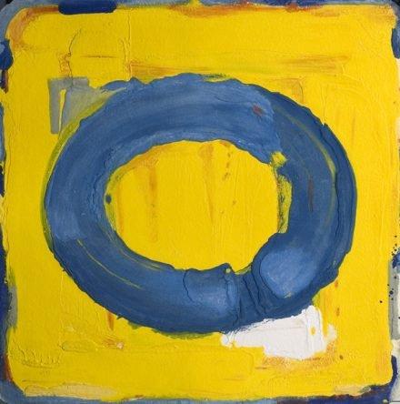 Blauwe cirkel / geel