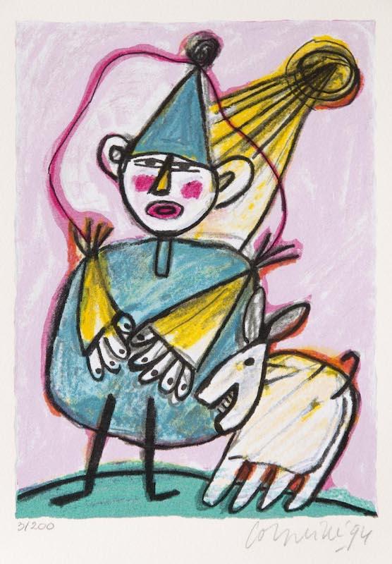 Clown avec un Chien Blanc