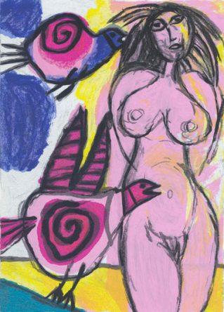 Femme avec Deux Oiseaux