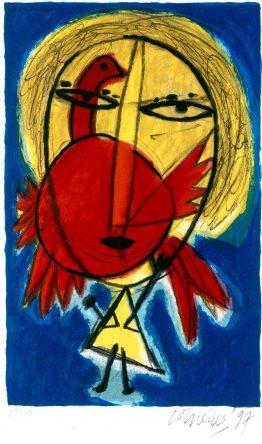 Femme et Oiseau Rouge