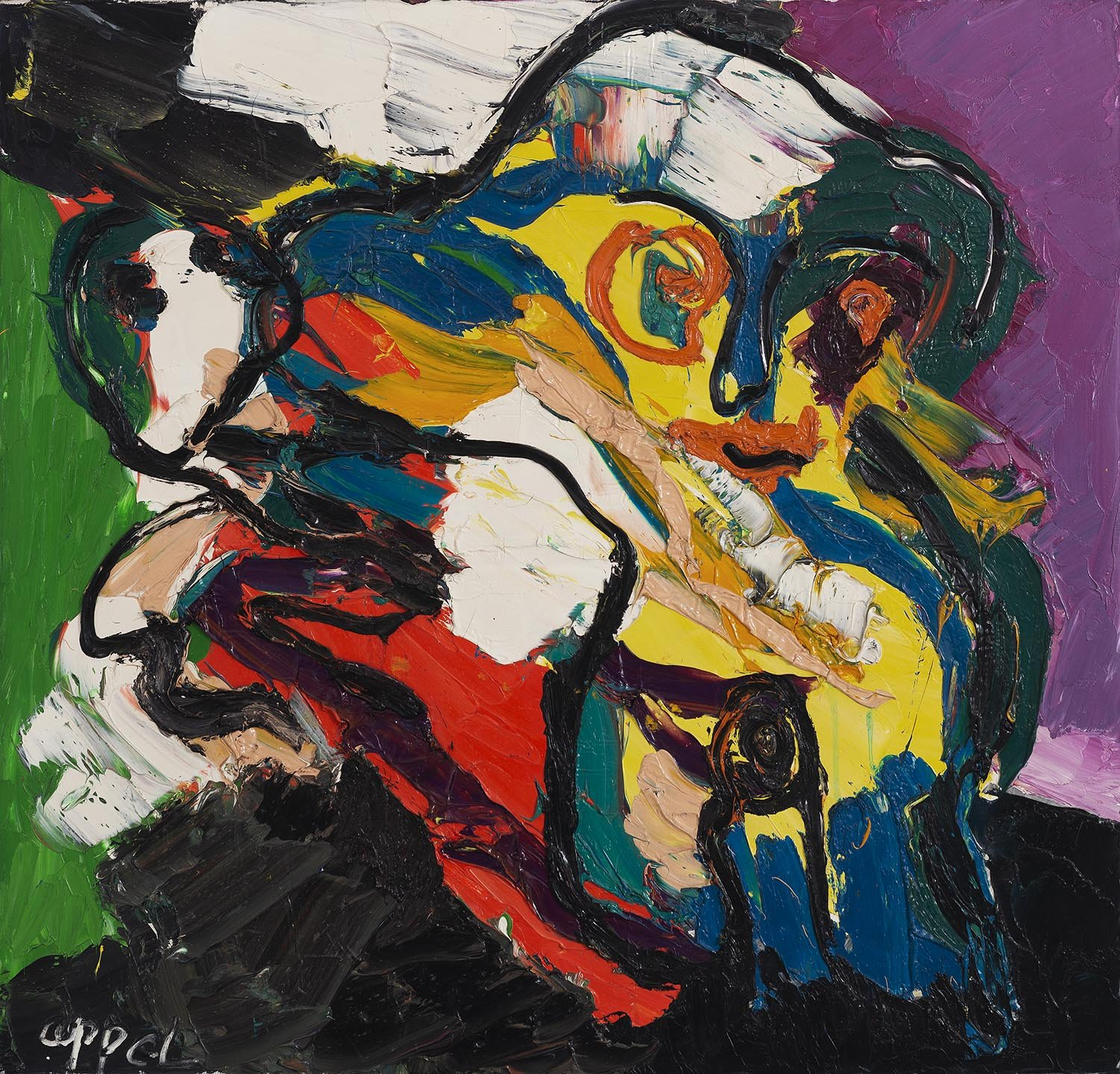 Karel Appel - Untitled - oil on canvas 1974 - 100 x 100 cm