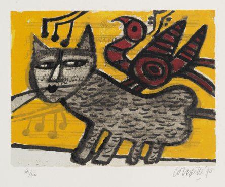 Kat op Muziekpapier